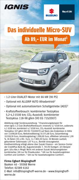 Suzuki Ignis Anzeige Aktion September 2018